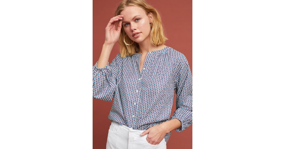 8c5c6d62b852 Lyst - Velvet By Graham   Spencer Oprah Embroidered Buttondown in Blue