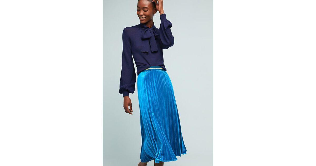 b022d61fbc Maeve Pleated Velvet Skirt in Blue - Lyst