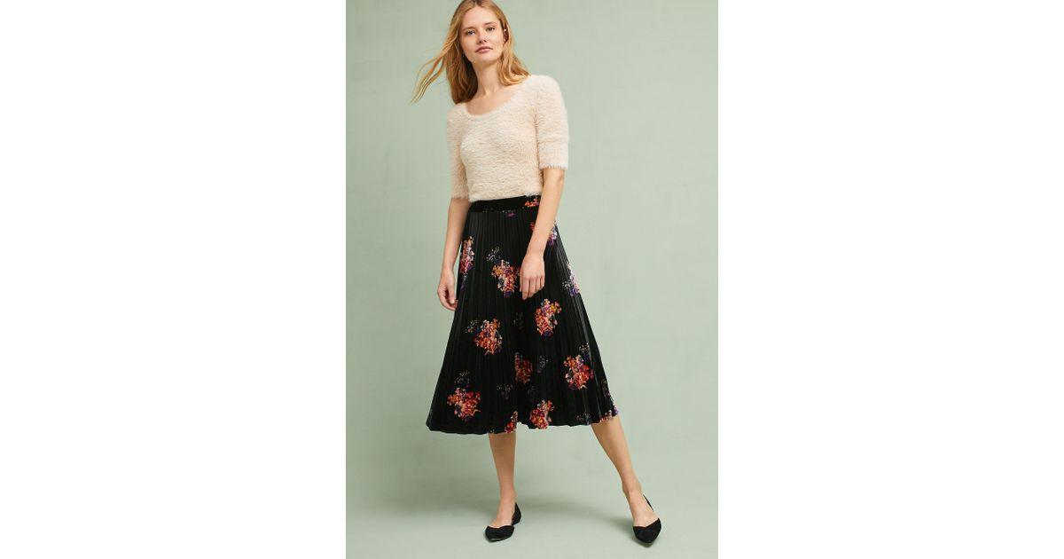 56c392d8a Maeve Nilla Floral Velvet Skirt in Black - Lyst