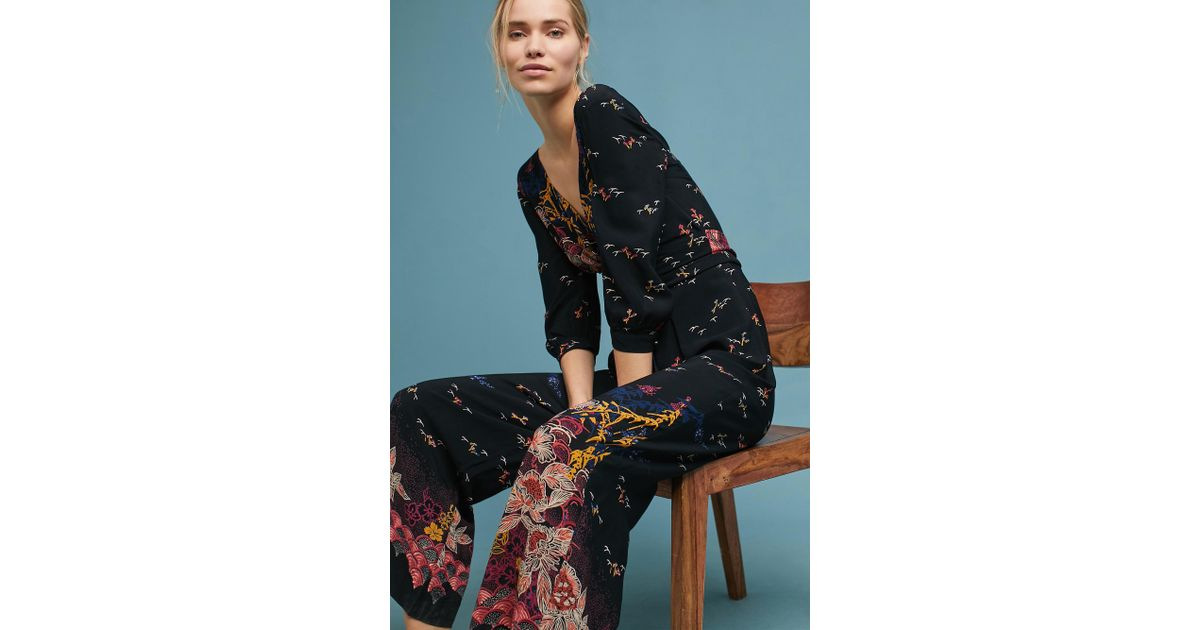 e158b7db61a6 Anthropologie Nara Floral Jumpsuit in Black - Lyst