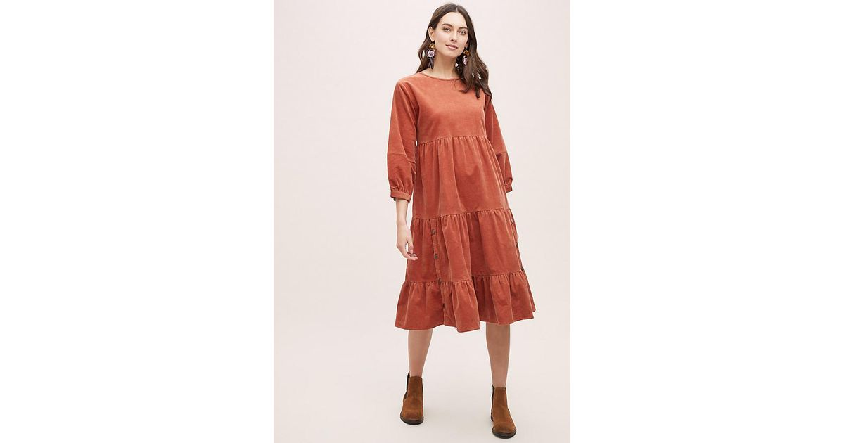 6427a5432fe8 Anthropologie Oreley Tiered-corduroy Dress in Orange - Lyst