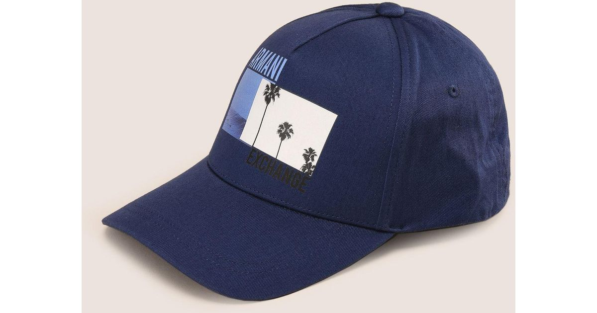 47377abfa1f Lyst - Armani Exchange Palm Print Logo Hat in Blue for Men