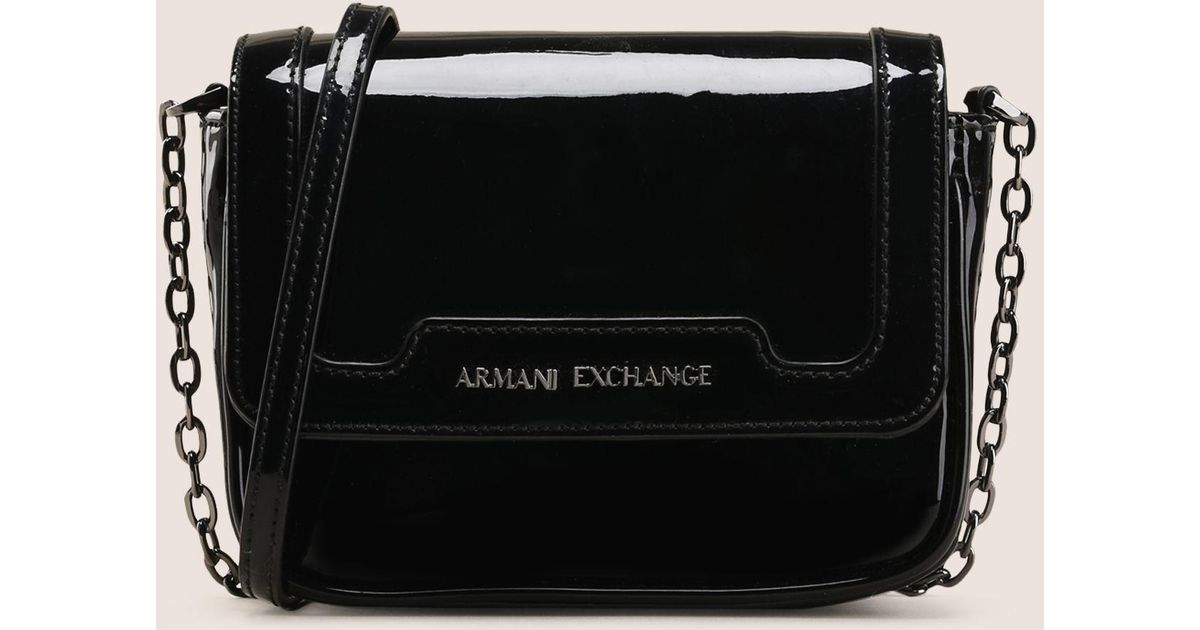 Lyst - Armani Exchange Patent-effect Faux-leather Crossbody in Black 22625d2167