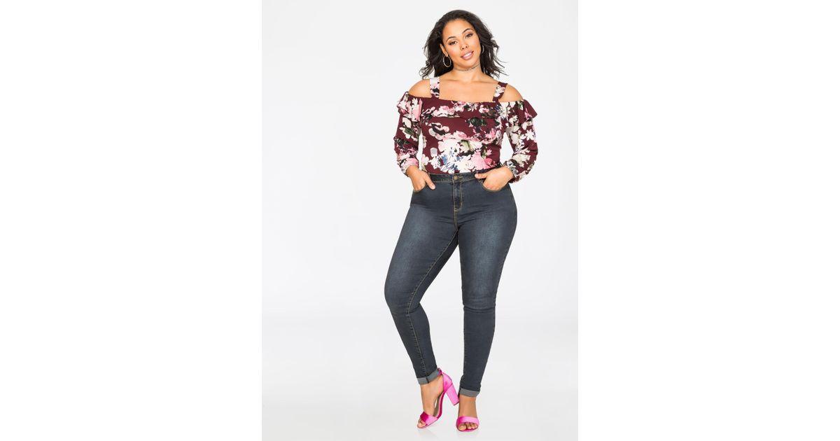 ca41138dc1d Lyst - Ashley Stewart Cuffed Vanilla Tint Skinny Jean in Blue