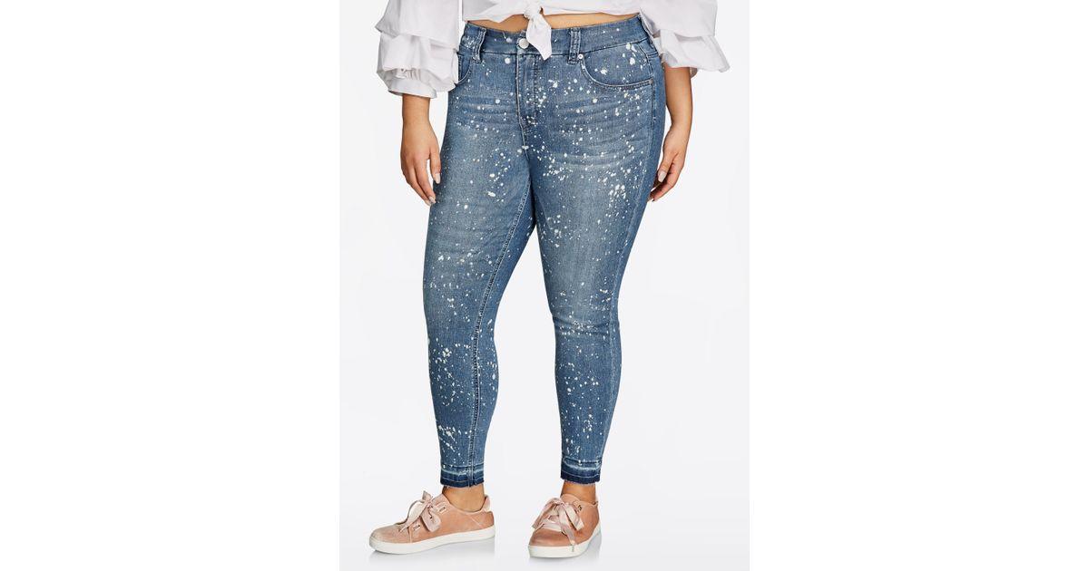 4743a5112f6 Lyst - Ashley Stewart Melissa Mccarthy Splatter Skinny Jean in Blue