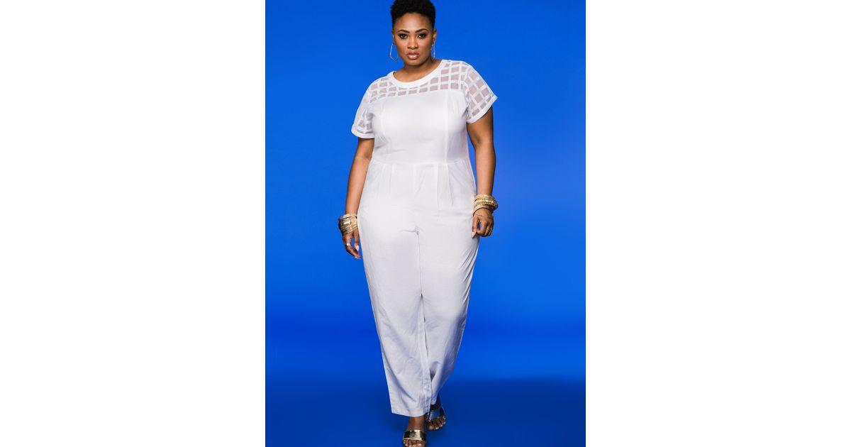 6d23c3e8ba37 Lyst - Ashley Stewart Windowpane Mesh Linen Jumpsuit in White