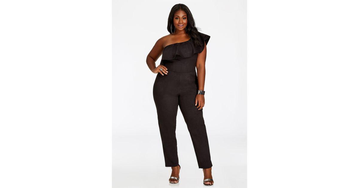 4ee145364fcd1 Lyst - Ashley Stewart Faux Suede One Shoulder Double Ruffle Jumpsuit in  Black