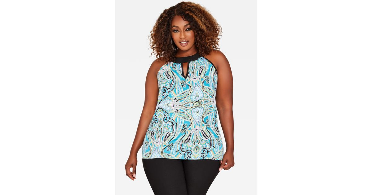 c04acca41e4 Lyst - Ashley Stewart Plus Size Paisley Keyhole Halter Top in Blue