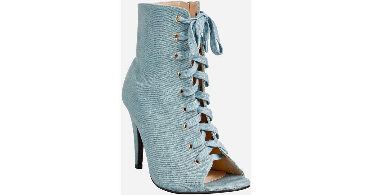 c3b8865929b8 Lyst - Ashley Stewart Lace Up Front Open Toe Boot - Wide Width in Blue