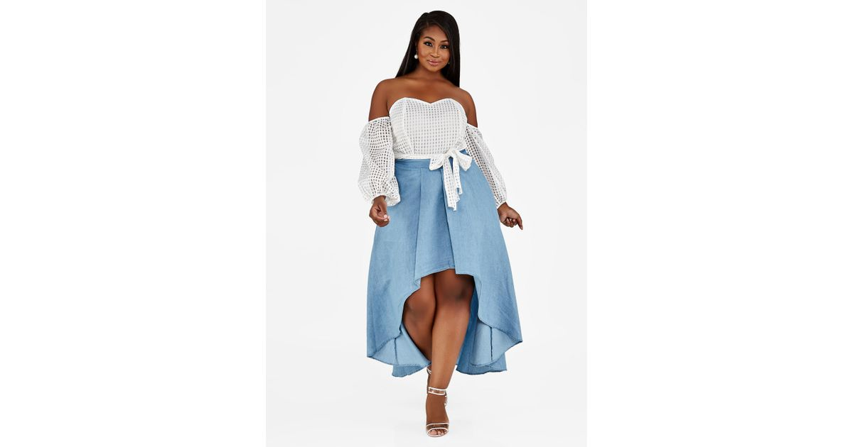 011e135e075 Lyst - Ashley Stewart Plus Size Hi Lo Chambray Maxi Skirt in Blue