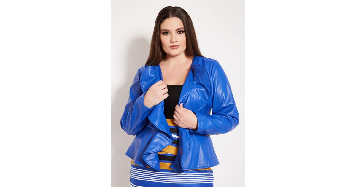9b60b80bd7083 Lyst - Ashley Stewart Plus Size Double Ruffle Faux Leather Jacket in Blue