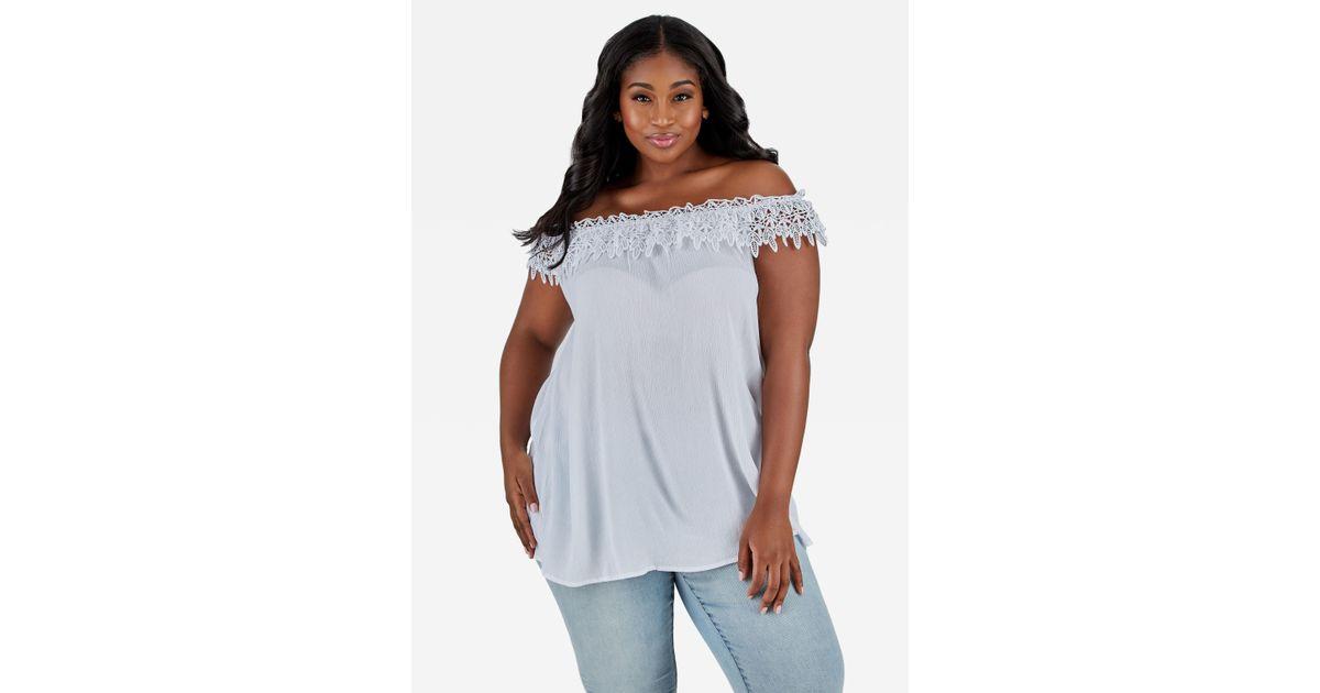 f66ec2006e6 Lyst - Ashley Stewart Plus Size Crochet Collar Off Shoulder Top in White