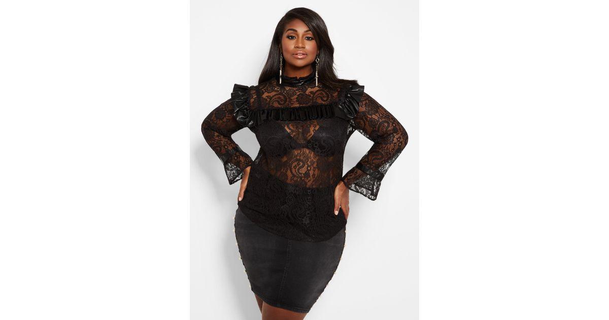 eebb4d42c4982 Lyst - Ashley Stewart Plus Size Lace Top With Faux Leather Trim in Black