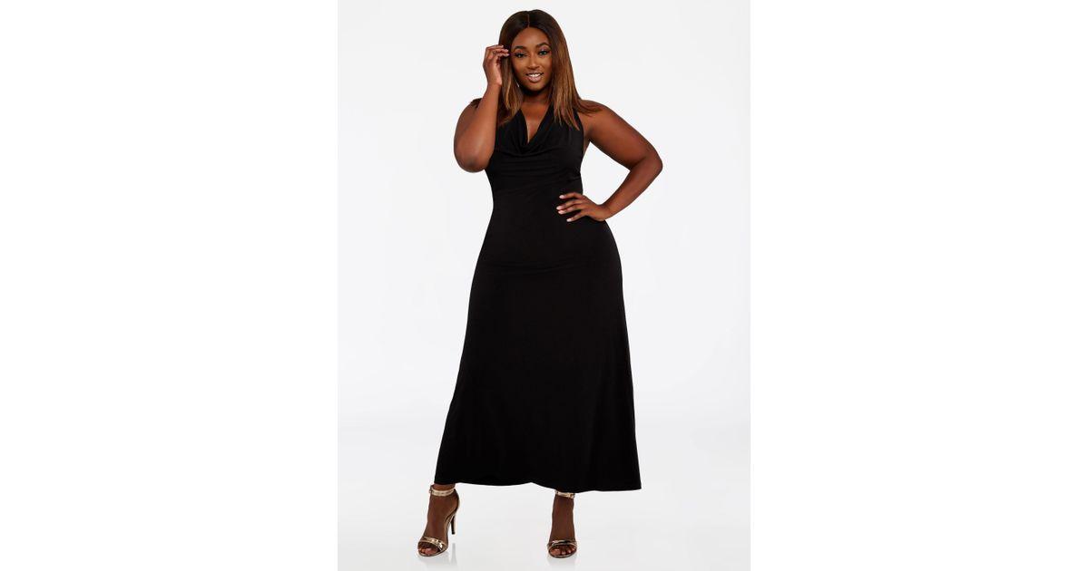 5bc85c7d900 Lyst - Ashley Stewart Plus Size Cowl Neck Halter Maxi Dress in Black