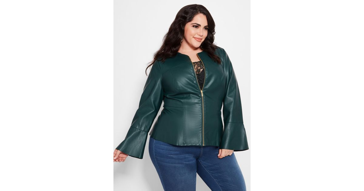 2be8e0100d7 Lyst - Ashley Stewart Plus Size Collarless Faux Leather Jacket in Green