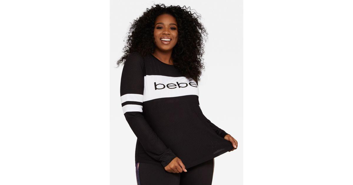 d3ea05108d8 Lyst - Ashley Stewart Plus Size Bebe Logo Striped Mesh Top in Black