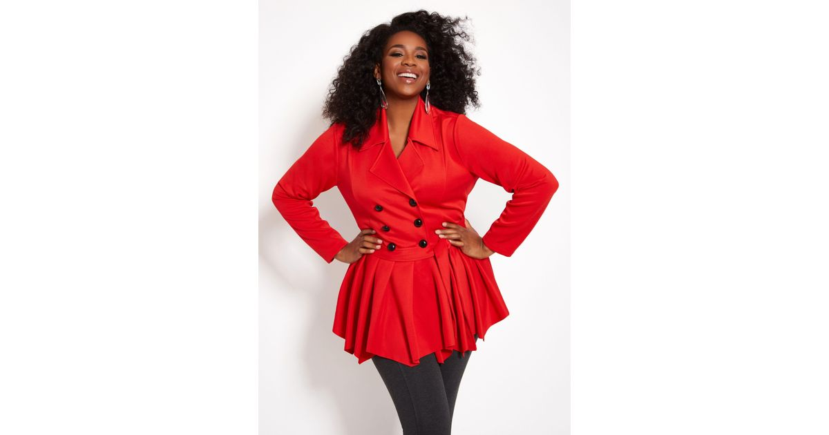 c894a2848ce6c Lyst - Ashley Stewart Plus Size Double Breasted Peplum Jacket in Red