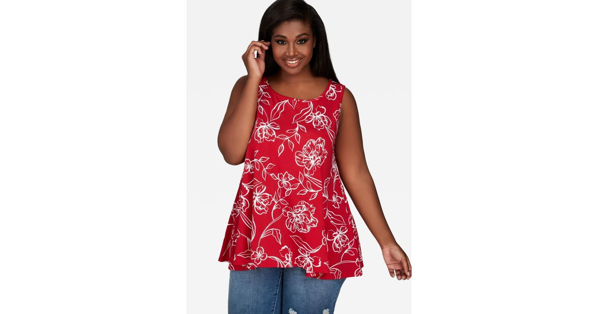 3ff1ae45ec9 Lyst - Ashley Stewart Plus Size Sleeveless Floral Swing Top in Red