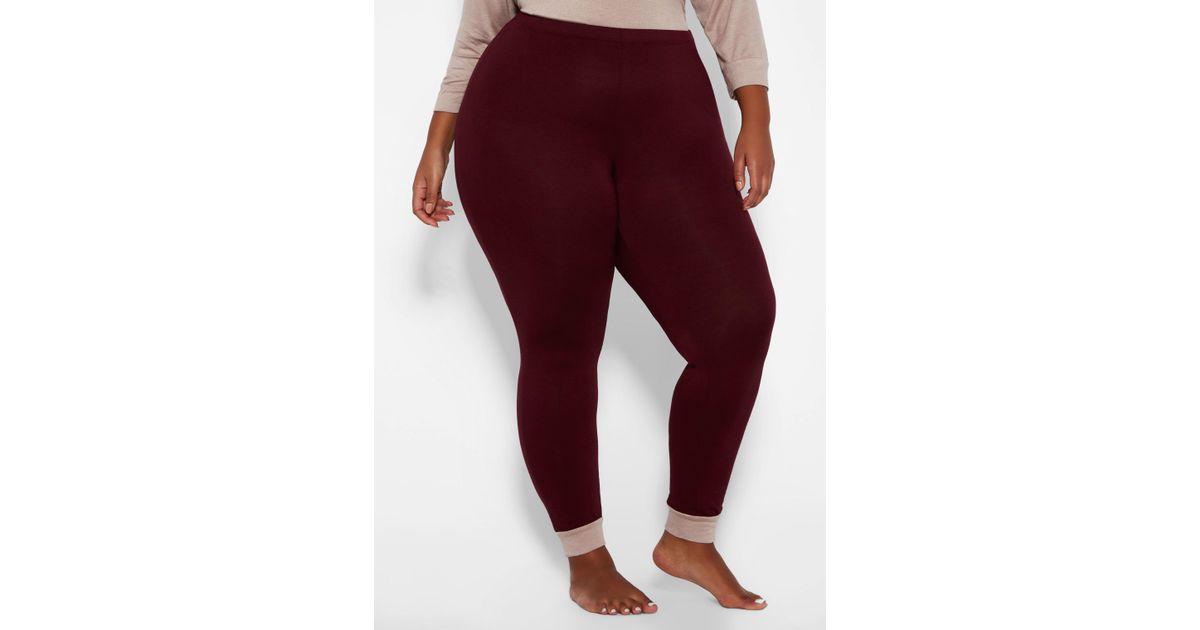 1d19a7fc26734 Ashley Stewart Plus Size Cuff Bottom Sleep Legging in Red - Lyst