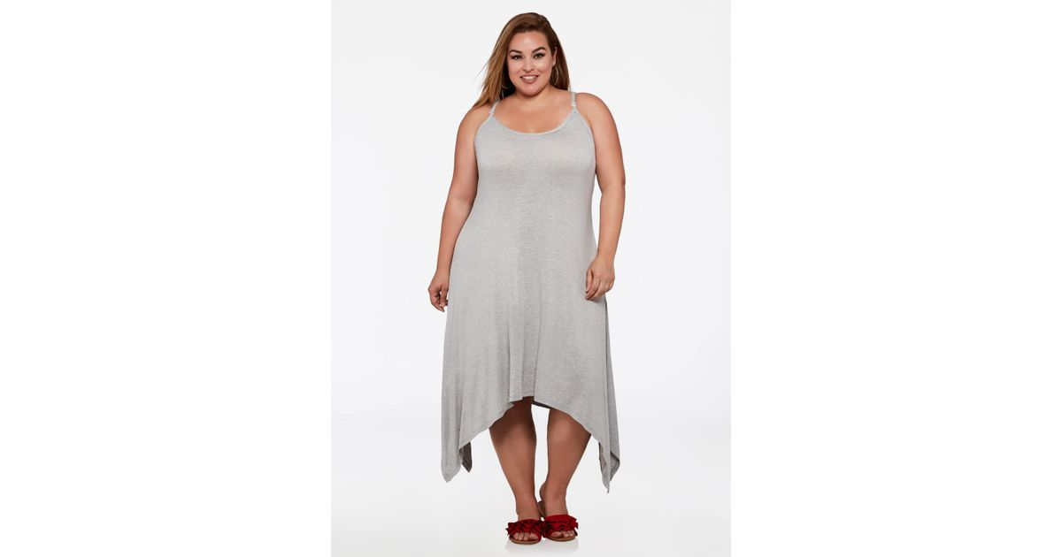 3774430af13 Lyst - Ashley Stewart Plus Size Hanky Hem Tank Dress in Gray