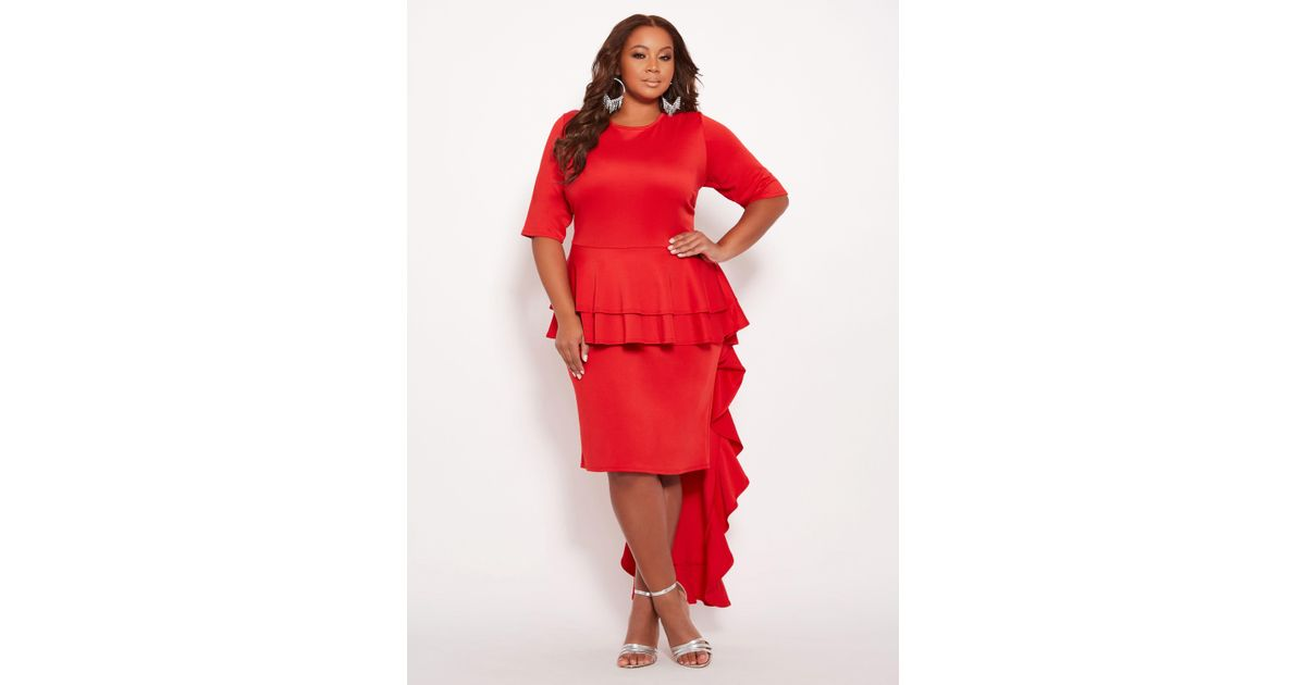 Ashley Stewart Red Plus Size Peplum Dress With Train