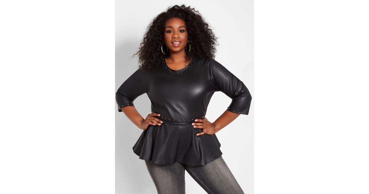 e5d8b89763f9 Lyst - Ashley Stewart Plus Size Studded Faux Leather Peplum Top in Black
