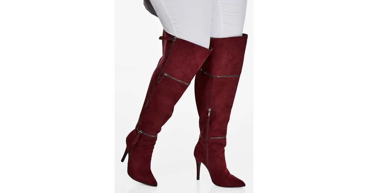 f868188382e Lyst - Ashley Stewart Over-the-knee Multi-zip Heeled Boots - Wide-width