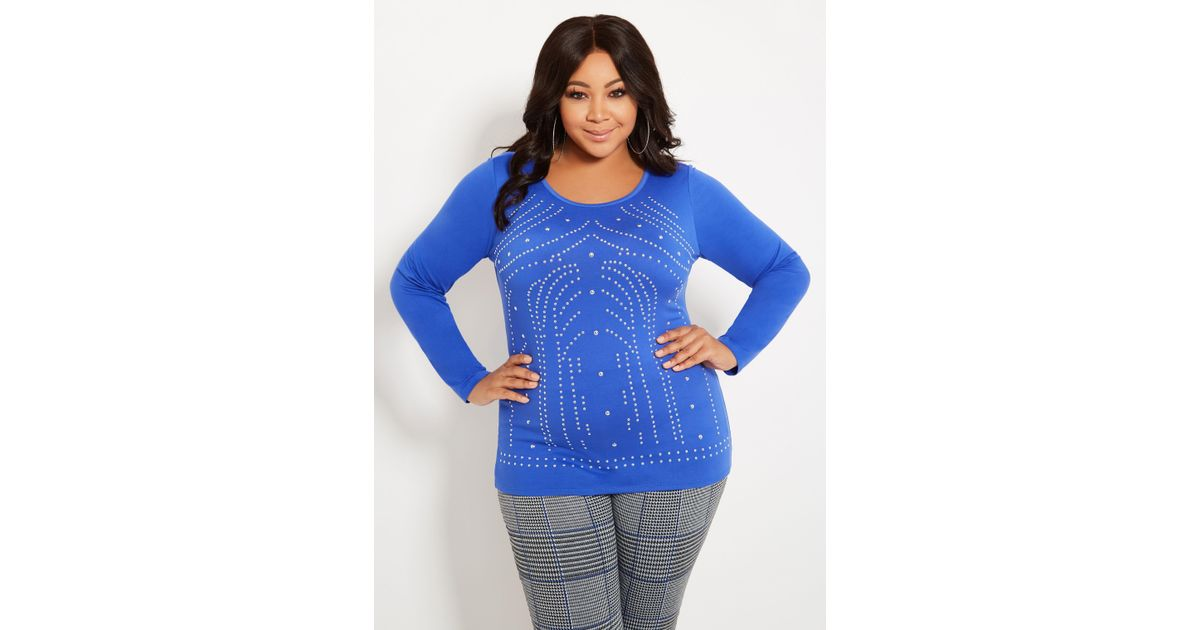 b62d47ae5f4ad Lyst - Ashley Stewart Plus Size Scoop Neck Studded Top in Blue