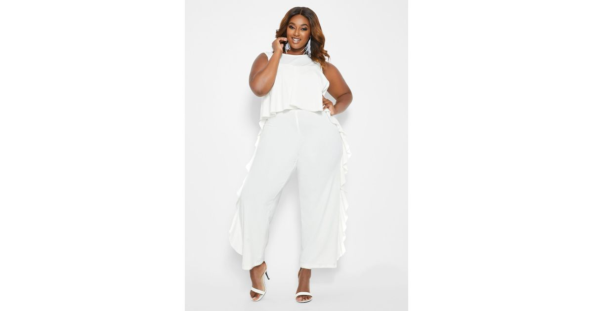 9c3161ba2977 Ashley Stewart Plus Size Sleeveless Ruffle Jumpsuit in White - Lyst