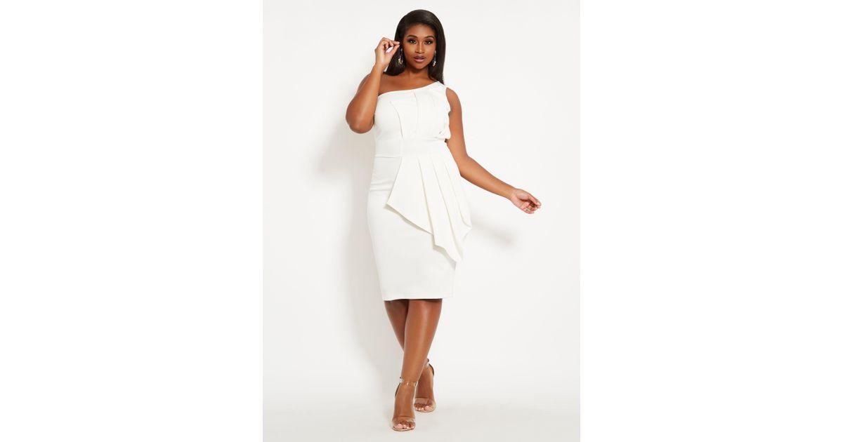 75169f1282a Ashley Stewart White Plus Size Fan Detail One Shoulder Dress