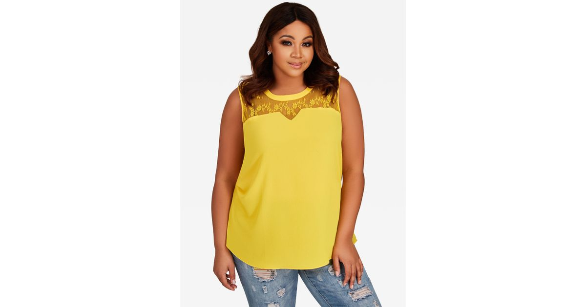 1c6cb8286a3 Lyst - Ashley Stewart Plus Size Floral Lace Inset Tank Top in Yellow