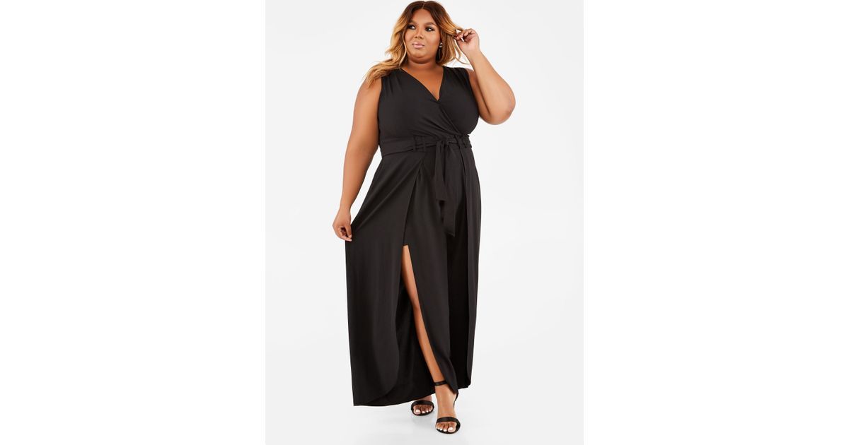 2b9237c42a42 Lyst - Ashley Stewart Plus Size Split Leg Sleeveless Jumpsuit in Black