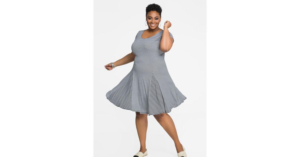 c1a47486d6e Lyst - Ashley Stewart Mixed Media Stripe Fit N Flare Dress in Blue