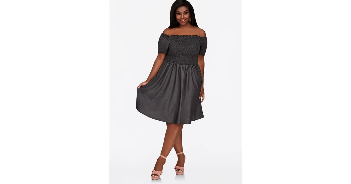Ashley Stewart Plus Size Smocked Bodice Empire Waist Dress in Black ...