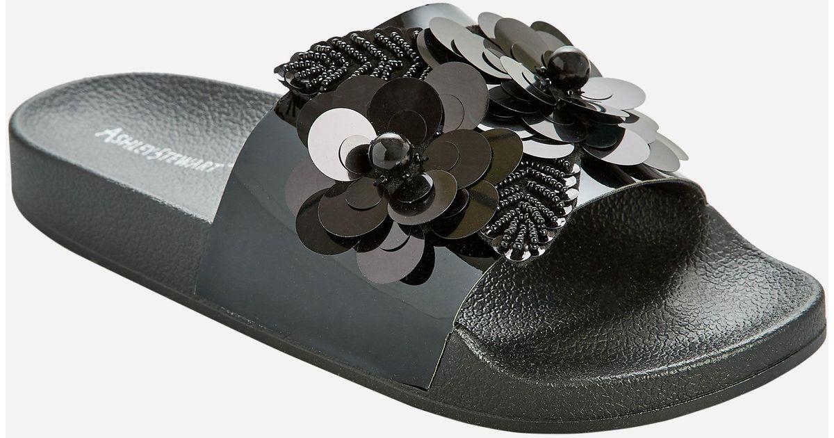 ba4c9c5b958 Lyst - Ashley Stewart Floral Embellished Slide - Wide Width in Black