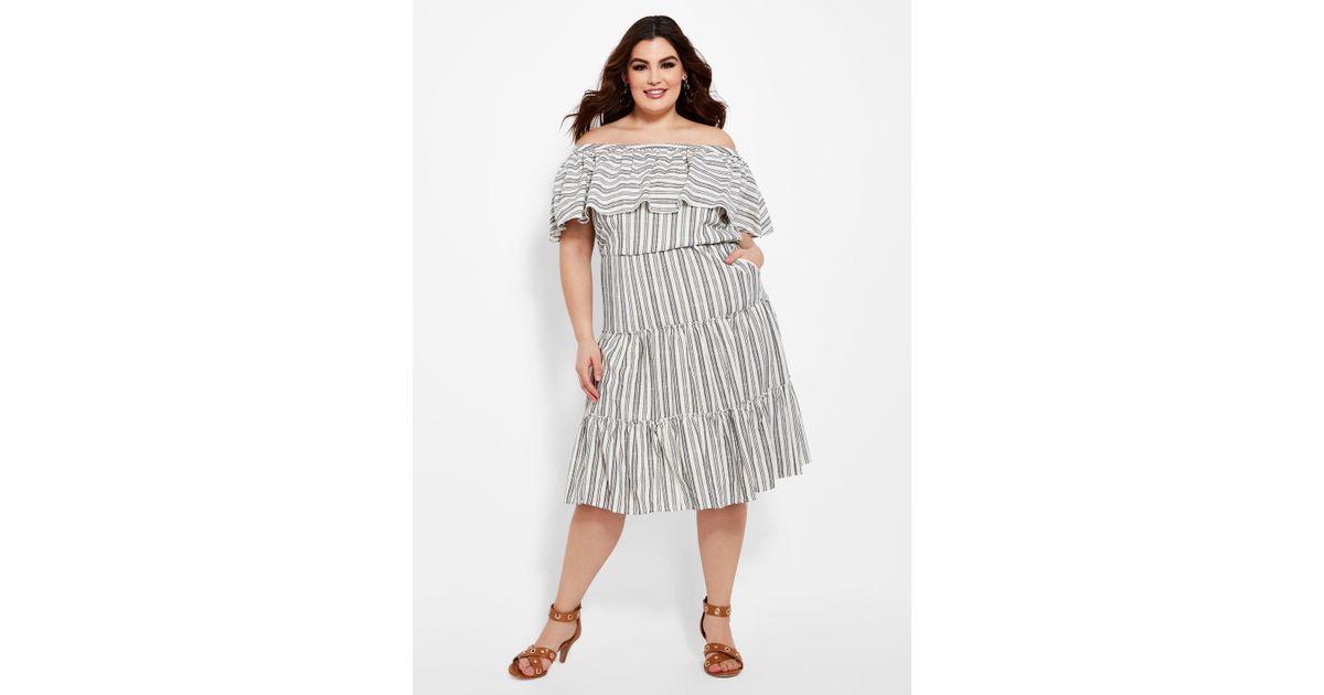 8fa414f6a11 Ashley Stewart Blue Plus Size Stripe Ruffle Tiered Linen Dress