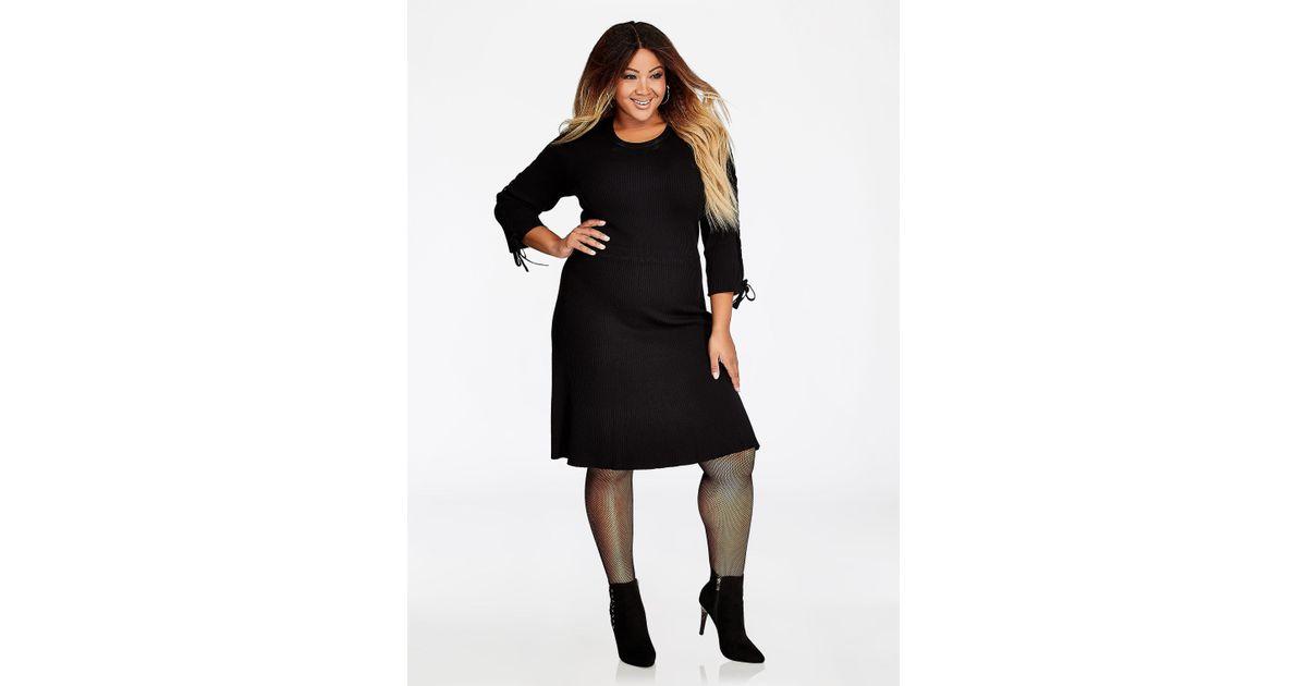 Lyst Ashley Stewart Plus Size Lace Up Sweater Dress In Black