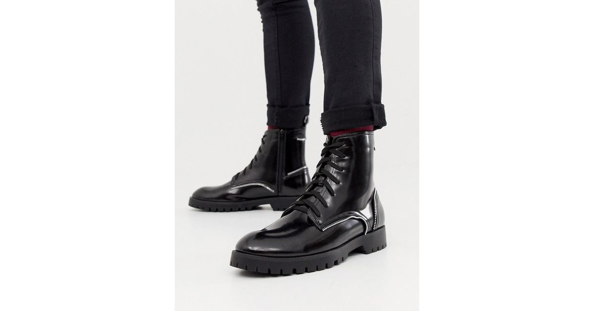 e7872ef529a Truffle Collection Zip Detail Lace Up Boot In Black for men