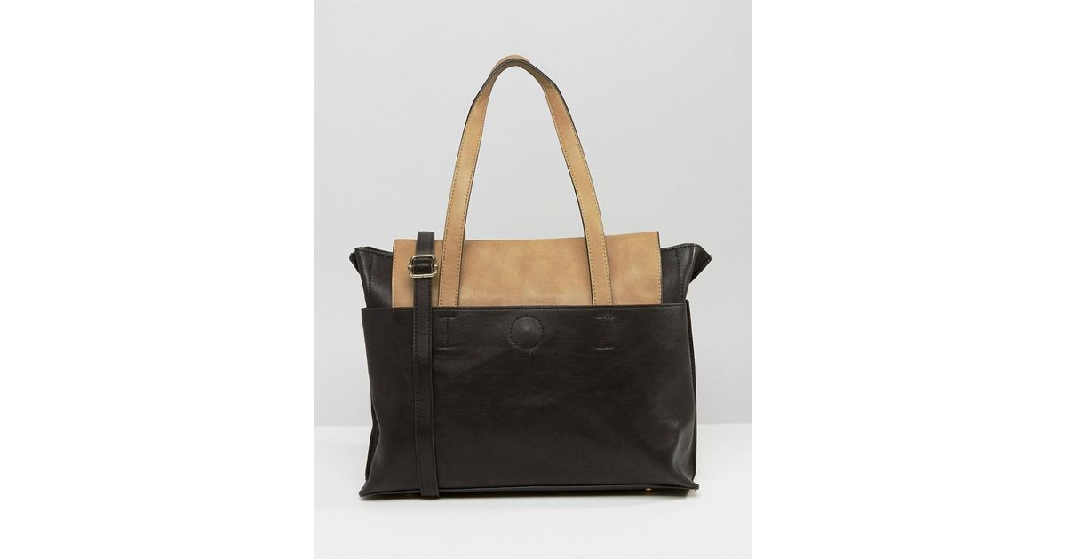 84d3851cfd7e Oasis Two Tone Tote Bag in Black - Lyst