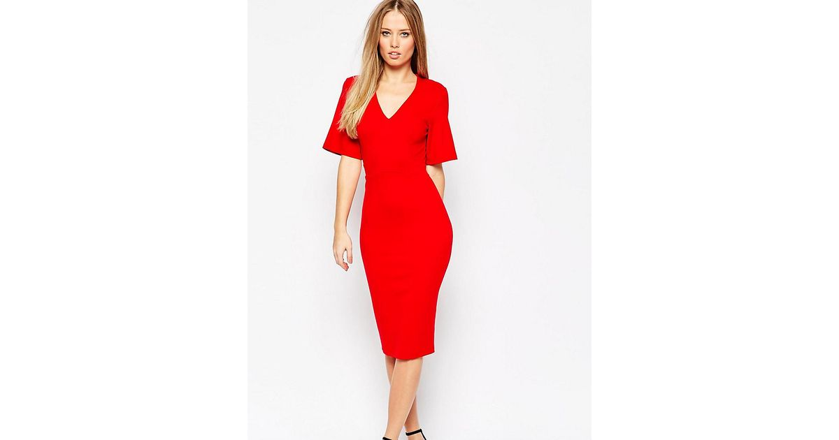 4715a90622 Lyst - ASOS Plunge Neck Kimono Sleeve Dress in Red