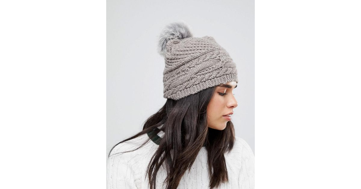 8f35d70945c Alice Hannah Chunky Cable Knitted Hat in Natural - Lyst