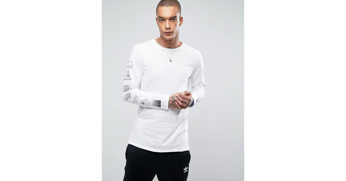 New look long sleeve t shirt with arm print in white in for Shirts for men with long arms
