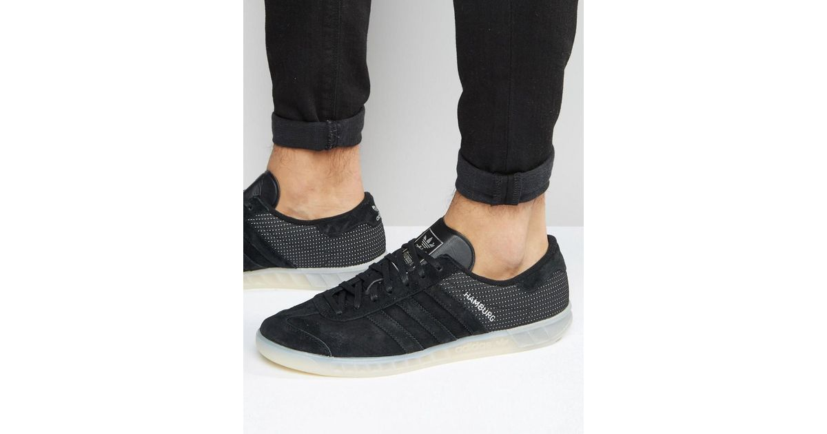 Adidas Originals Hamburg Tech Trainers In Black S79993 for men