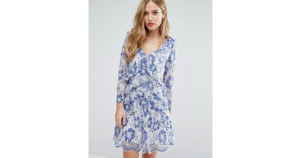 2eed483bbb0 French Connection Antonia Lace Dress in Blue - Lyst