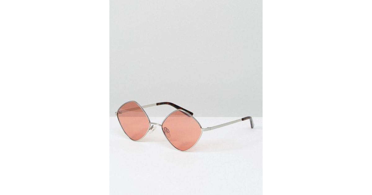 d1cec76ff05 Lyst - South Beach Diamond Frame Glasses With Tinted Rose Lens in Pink