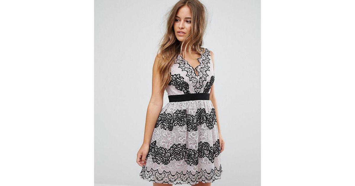 Lyst little mistress lace applique contrast mini prom dress