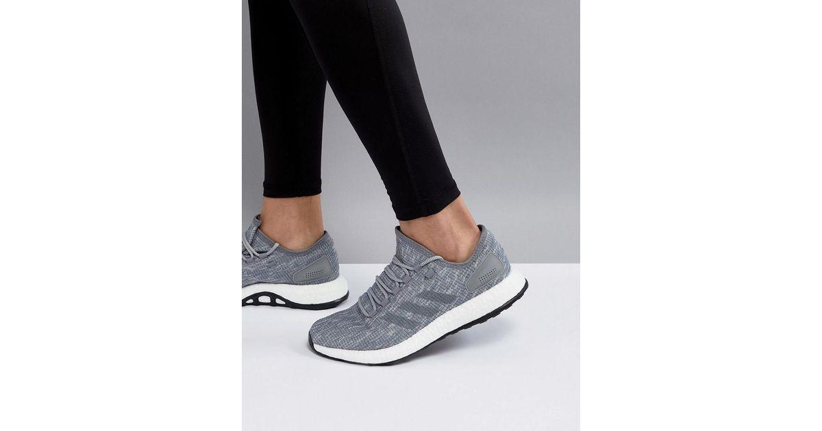 adidas Rubber Running Pureboost In Gray