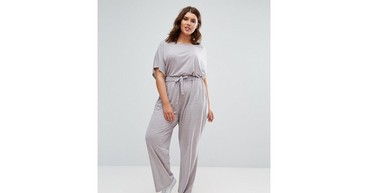 fdaabcb7ff5 ASOS Off Shoulder Jersey Jumpsuit In Slouchy Burnout in Gray - Lyst