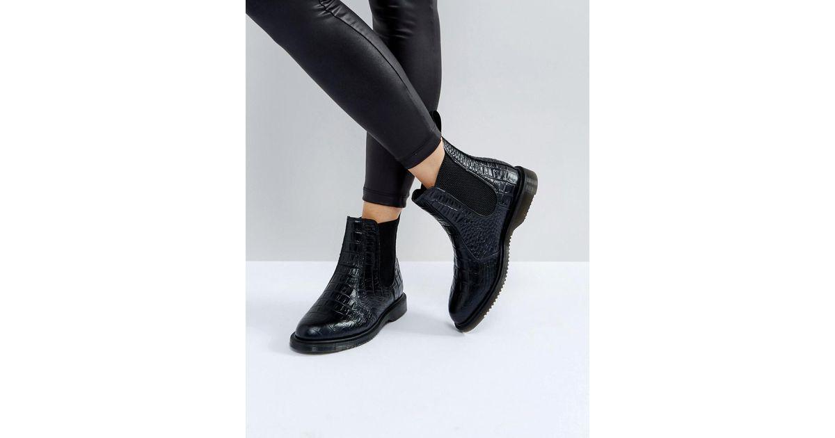 5c98a6dbbb8 Dr. Martens Kensington Flora Black Croco Chelsea Boots