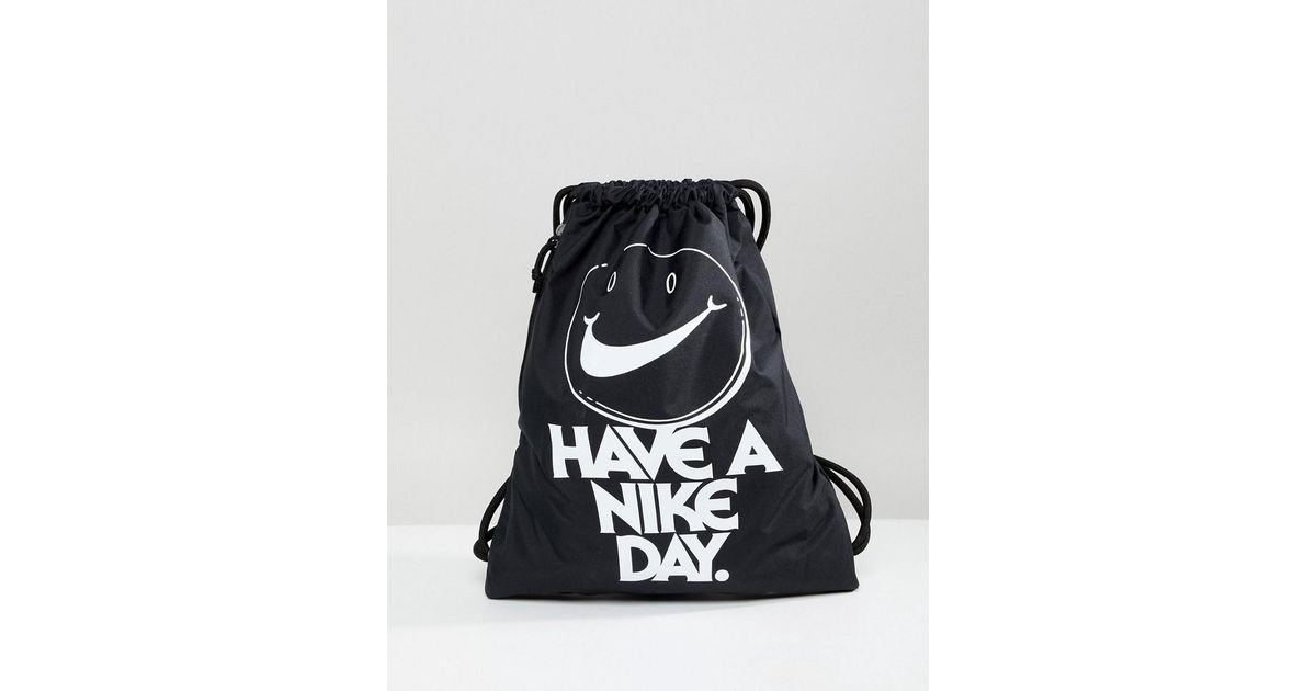 6b1e81da5bbd7 Nike Archive Logo Black Drawstring Backpack in Black - Lyst